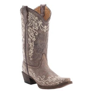 Corral kid's distressed tan western boots